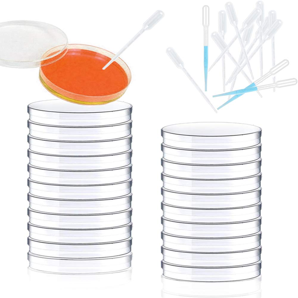 20Pack Plastic Petri Dishes,100mm x 15mm Petri Dish,20Pack 1ml Clear Plastic Pipettes,Culture Dishes with Lids for School,Laboratory,Party,Science Project,Cell Culture