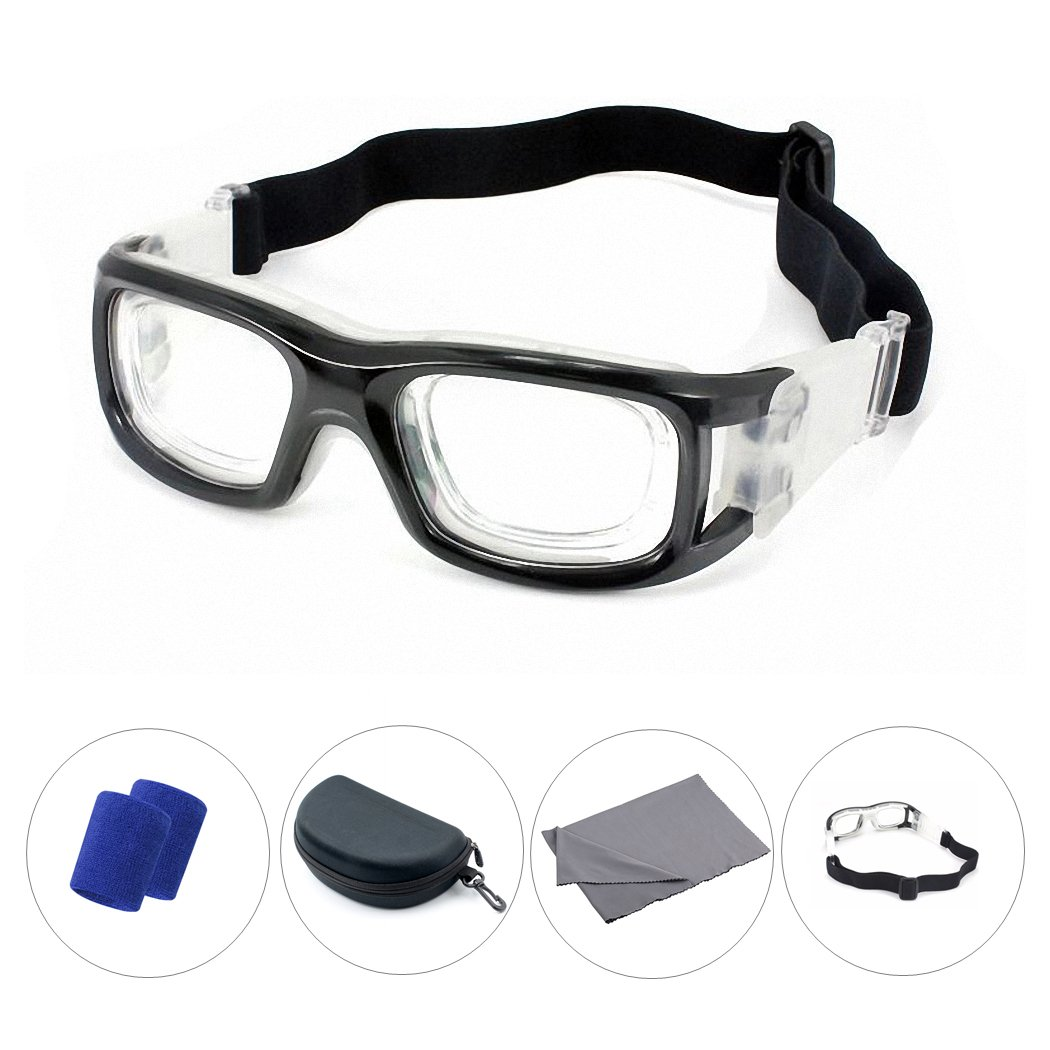 c6d80ef94a Amazon.com  Ralink Sports Protective Goggles Basketball Glasses Racquetball  Eyewear Cycling Football Goggles Eye Safety Glasses with Adjustable Strap  ...