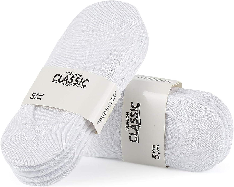 FALARY Calcetines Mujer Hombre 10 Pares Cortos Calcetines Invisibles tobillero Algodon Silicona Antideslizante Verano