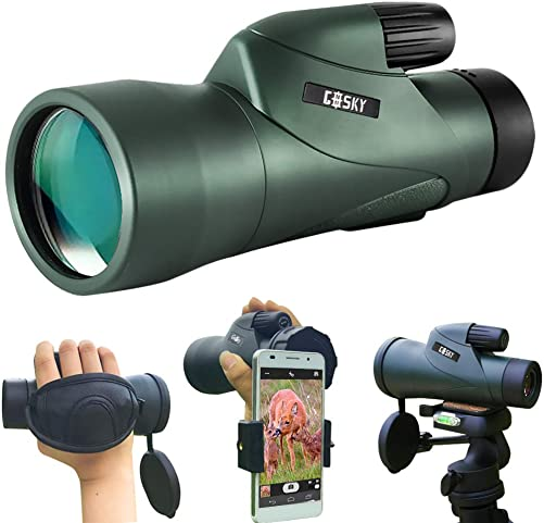Gosky 12×55 High Definition Monocular Telescope and Quick Smartphone Holder – 2019 Newest Waterproof Monocular -BAK4 Prism for Wildlife Bird Watching Hunting Camping Travelling Wildlife Secenery