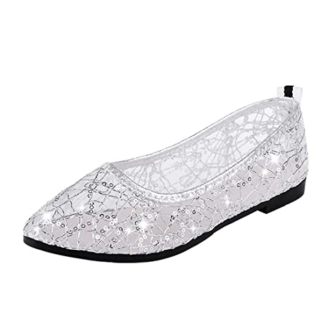 LILICAT✈✈ 2019 Moda Casual Punta Redonda Cristalino Profundo de Trabajo Zapatos Planos para Damas Parte Inferior Plana Cabeza Redonda Sandalias Femeninas ...