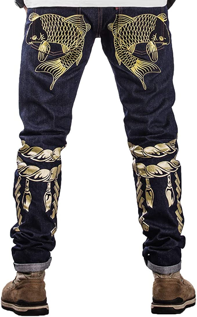 Geurzc 3D Pattern Stretch Slim Fit Jeans for Men