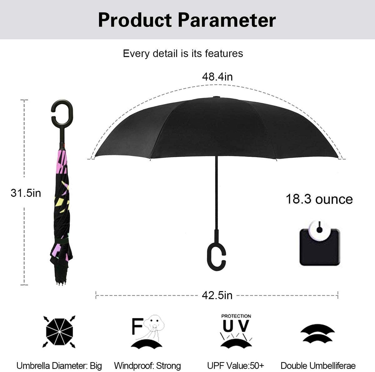 Self Stand Upside Down with C-Shaped Handle Folding Reverse Umbrella for Car Rain Outdoor PYFXSALA Colorful Star Windproof Inverted Umbrella Double Layer UV Protection
