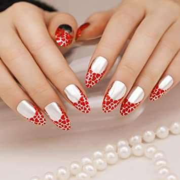 ArtPlus 24pcs Silver Red Chrome False Nails With Glue Full Cover Stilleto Fake Art
