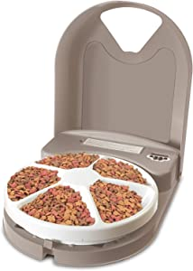 PetSafe 5 Meal Automatic Pet Feeder, Dog and Cat Dry Food Dispenser, with Digital Clock and Portion Control, 1 Cup Compartment Portions, 5 Cups Total Capacity