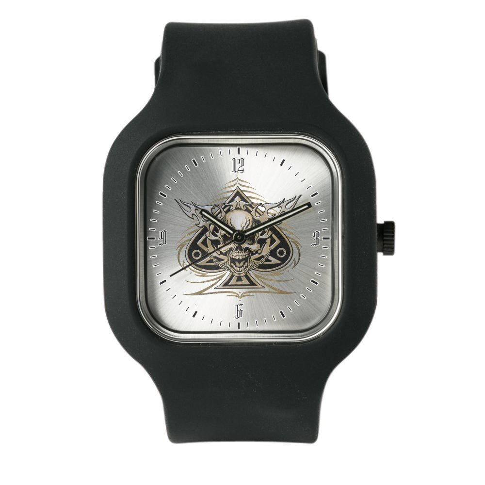 Black Fashion Sport Watch Skull Spade Chains and Flames