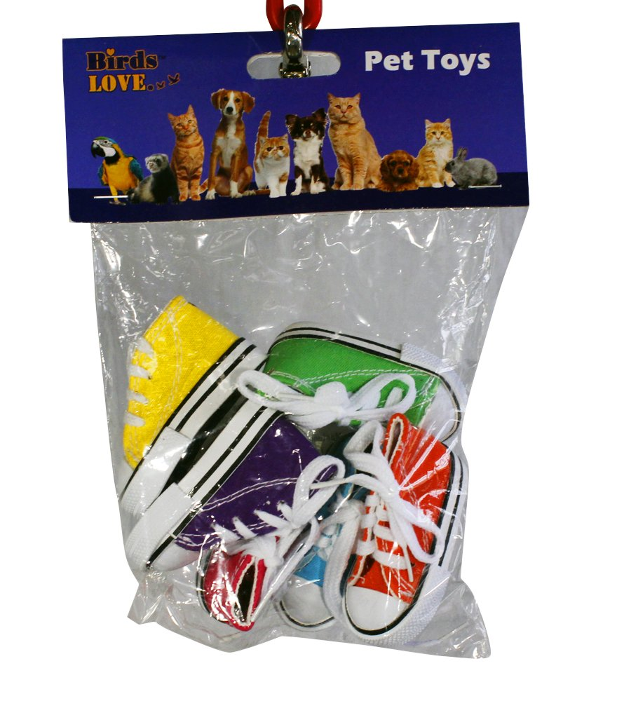 Birds LOVE 6 pk Mini Sneakers Shoes Toys for Birds, Cats, Ferrets, Rabbits, Guinea Pigs and Small Animals