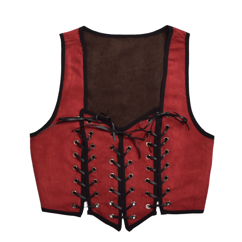 Lady Pirate Reversible Lace-Up Red and Brown Corset Vest - DeluxeAdultCostumes.com