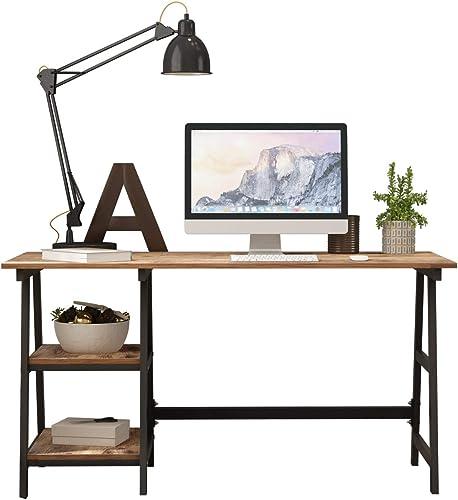 SDHYL 55 inches Computer Desk Trestle Desk Home Office Desk