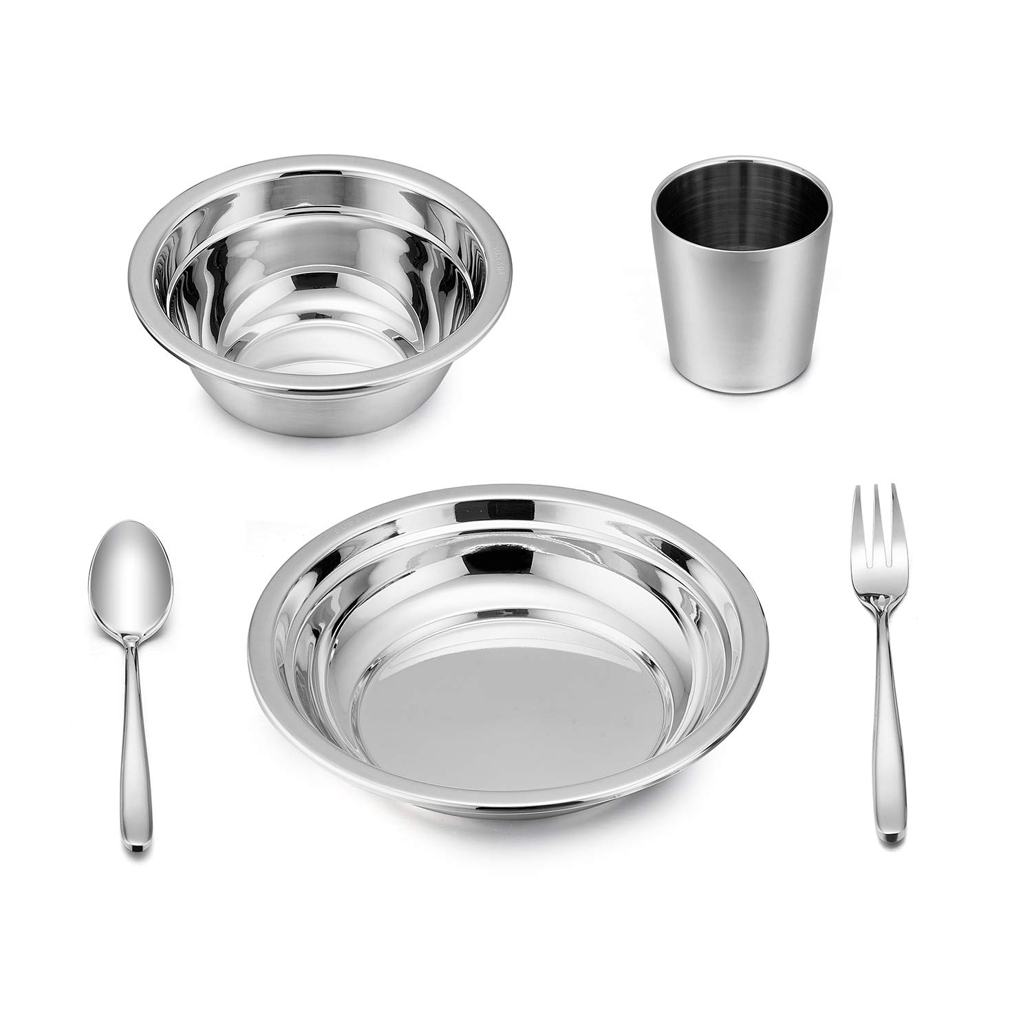 LIANYU 5-Piece Toddler Kids Dinnerware Set, Stainless Steel Childrens Dinnerware Include Plate/Bowl / Cup/Spoon / Fork, Eco Friendly & BPA Free - Dishwasher Safe