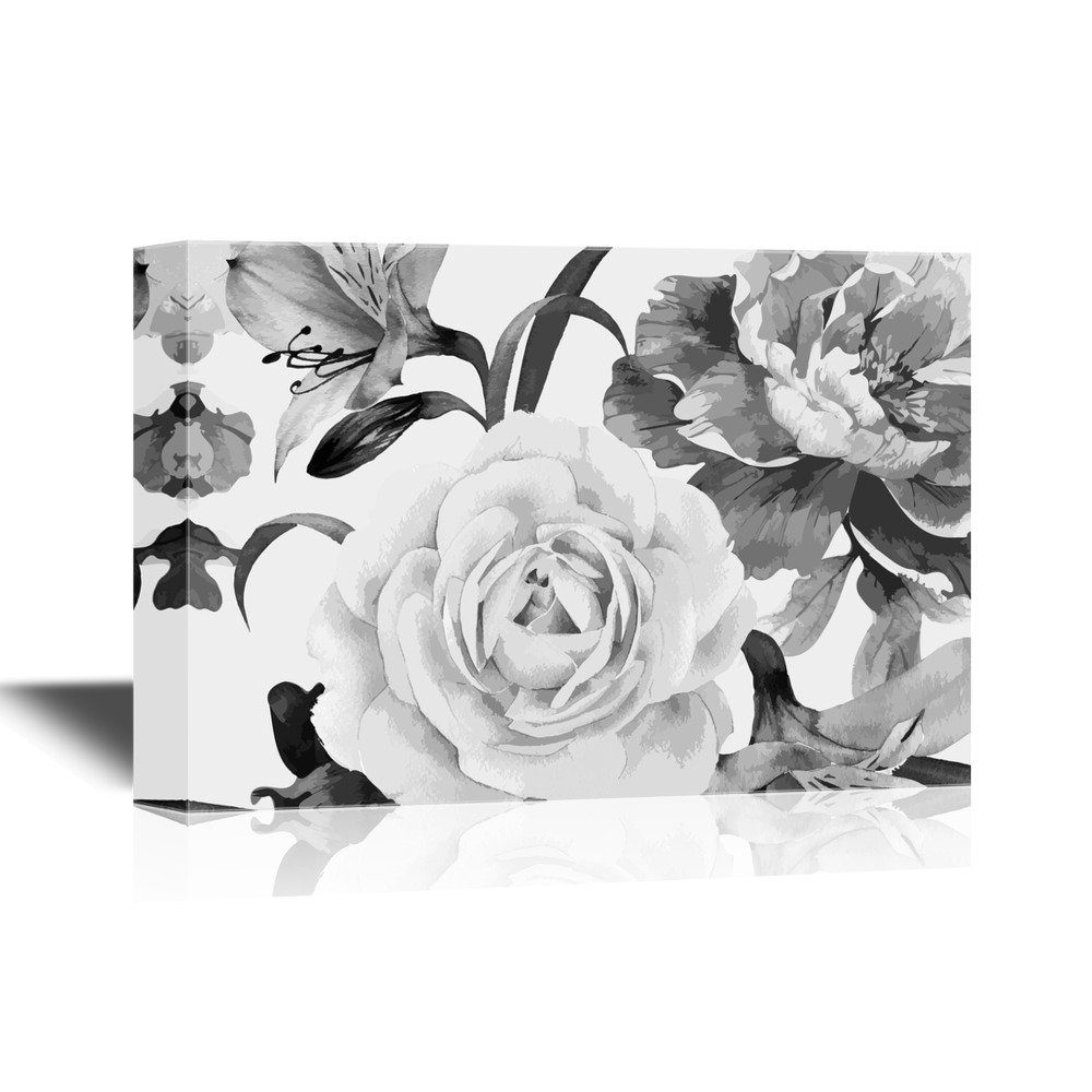 Flower Petals In Black And White Canvas Art Wall26
