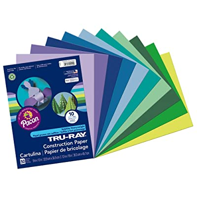"""Tru-Ray Heavyweight Construction Paper, Cool Assorted Colors, 9"""" x 12"""", 50 Sheets : Drinkware Sets : Office Products"""