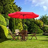 Yescom 10ft Aluminum Outdoor Patio Red Umbrella w/ Crank Tilt Deck Market Yard Beach Pool Cafe Shade Review