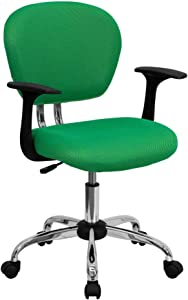 Flash Furniture Mid-Back Bright Green Mesh Padded Swivel Task Office Chair with Chrome Base and Arms