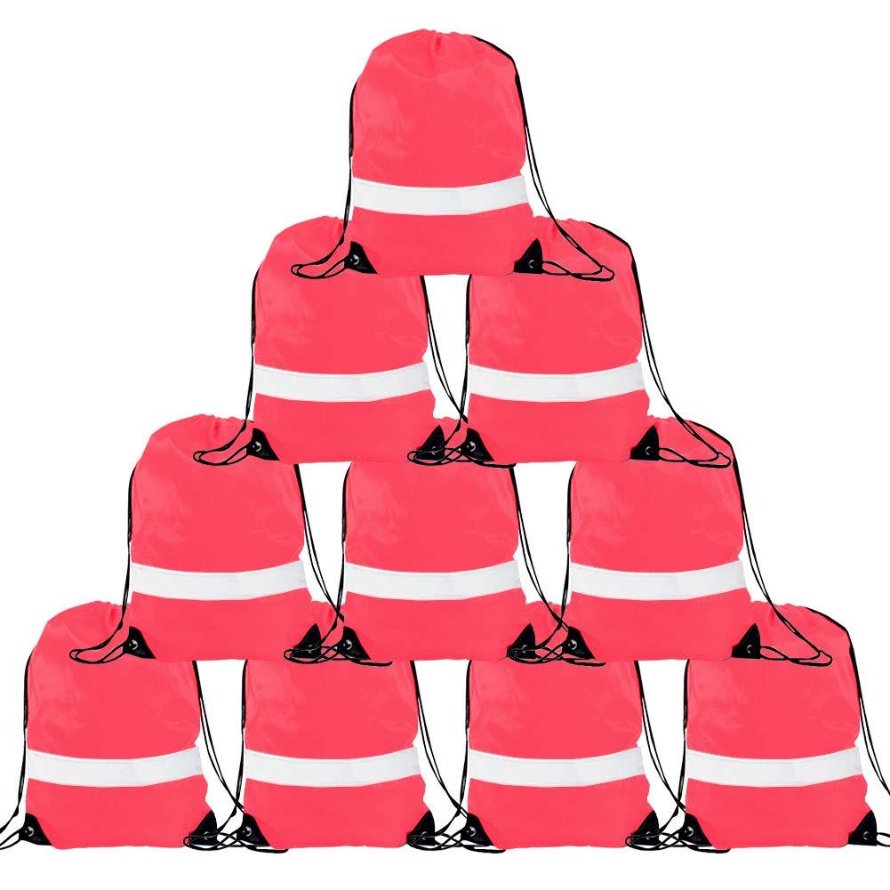 Drawstring Backpack Bags - 10 Pack Reflective Sack Backpack Sport Gym Cinch Bag Travel Fabric Drawstring Backpacks 10460489