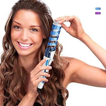 HCLESTORE Profesional Peluquería Portátil Espiral rizo de cerámica Rizador de pelo Moldeador de pelo Waver Fabricante (azul)