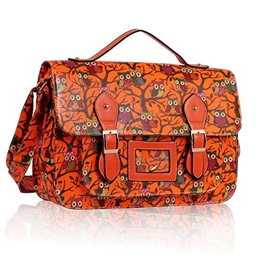 Girls Orange Owl Print Satchel Messenger Bag Shoulder Bag School Bag