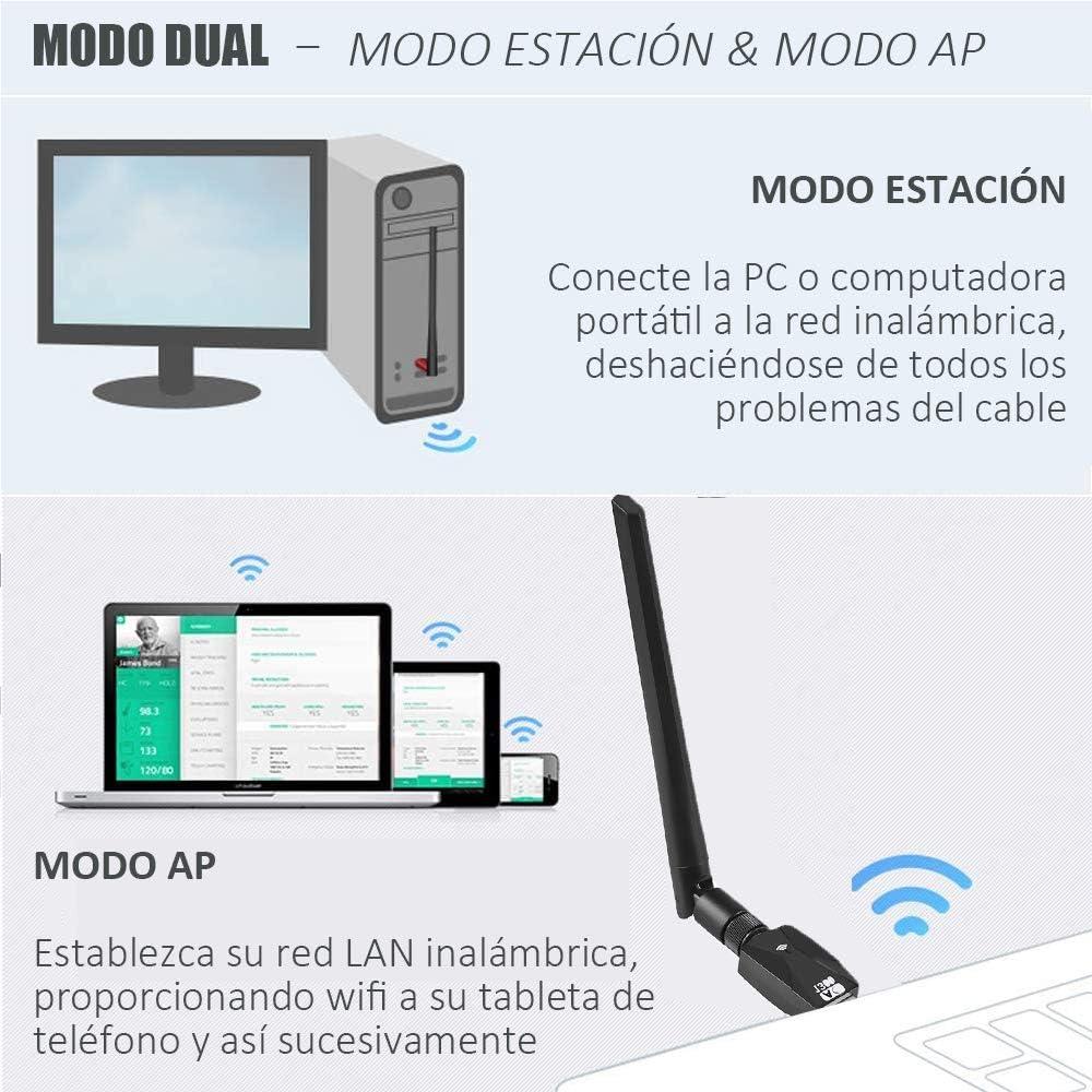 Yicente WiFi Adaptador AC 1300Mbps USB WiFi Receptor Dual Band 2.4G//5GHz WiFi Antena para PC Desktop Laptop WiFi USB Adaptador Antena WiFi USB Inal/ámbrico 802.11 AC WiFi Dongle Soporte Windows Mac OS