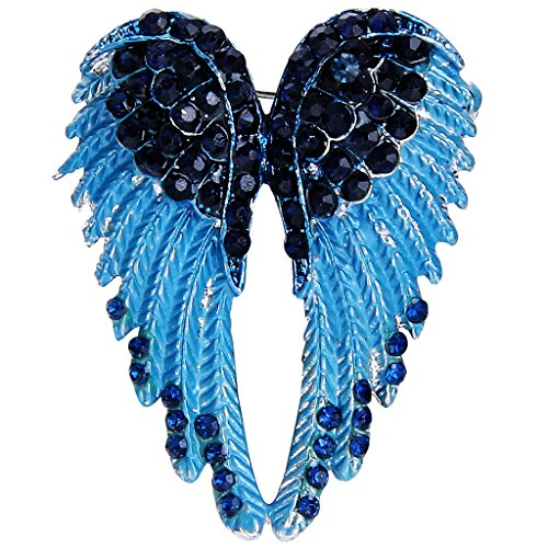 EVER FAITH Silver-Tone Austrian Crystal Enamel Angel Wings Brooch Pin (Angel Pin Brooch)
