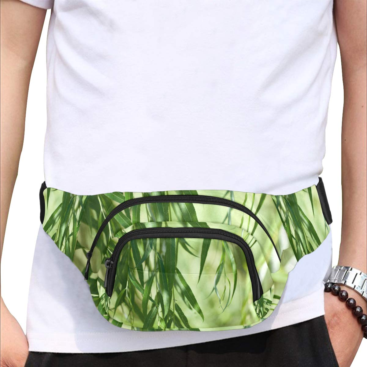 Green Willow Leaves In Spring Fenny Packs Waist Bags Adjustable Belt Waterproof Nylon Travel Running Sport Vacation Party For Men Women Boys Girls Kids