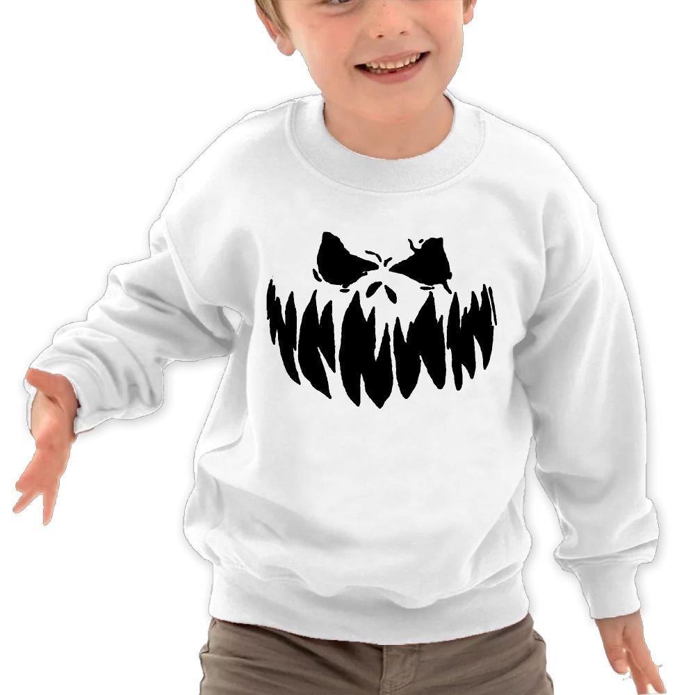 Anutknow Creepy Halloween Face Childrens Round Neck Soft Hoodies Sweatshirt