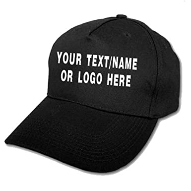 7b57c30d5a788 Personalised Baseball caps Customised Adults Unisex Printed Caps Hats with  Text Name Logo (Black)  Amazon.co.uk  Clothing