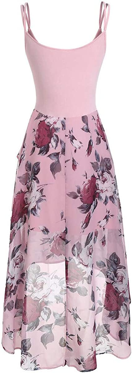 BOLUBILUY Women Plus Size Dresses Plus Size Sleeveless Buttons Floral Print Overlay High Low Tank Tops Dress