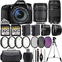Canon EOS 80D DSLR Camera + Canon 18-135mm IS STM Lens + Canon 75-300mm Lens + 0.43X Wide Angle Lens + 2.2x Telephoto Lens + 64GB Storage + 4PC Macro Kit + UV-CPL-FLD Filters - International Version