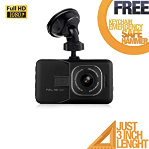 Deals Plaza Dash CAM Full HD 1080P CAR DVR Camera Video Recorder Monitor 3.0 INCH / 170 Degree Wide Angle in CAR/Night Vision/G-Sensor/WDR/Loop Recording Include MICROSD➕ ➕ ❗Free❗Mobile Stand