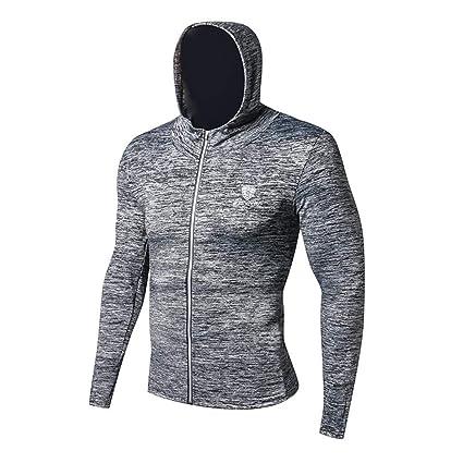 Camiseta de Compresión Para Hombre Fitness Running Training Zipper Mallas con capucha casuales, Sudaderas con