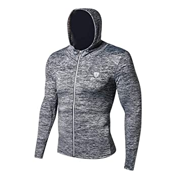 Camiseta de compresion Fitness Running Training Zipper Mallas con capucha casuales, Sudaderas con capucha de