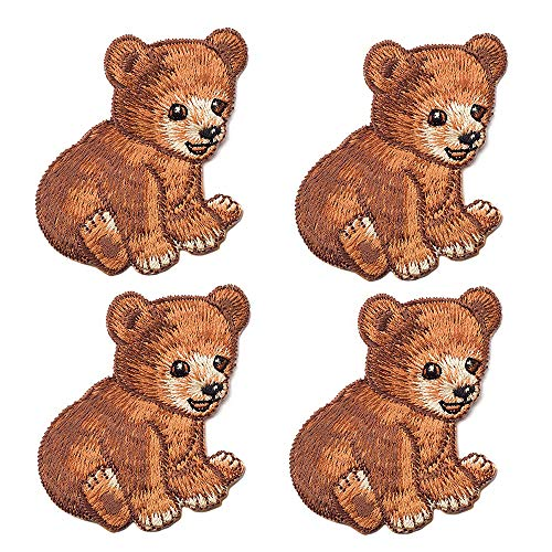4 Pack Delicate Embroidered Patches, Cute Bear Embroidery Patches, Iron On Patches, Sew On Applique Patch, Custom Backpack Patches for Men, Women, Boys, Girls, Kids, Super ()