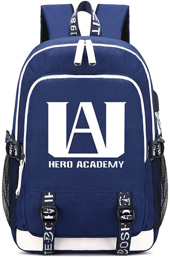 My Hero Academia Cosplay Luminous Bag Casual Backpack Traveling Backpack For Men And Women with USB Charging Port