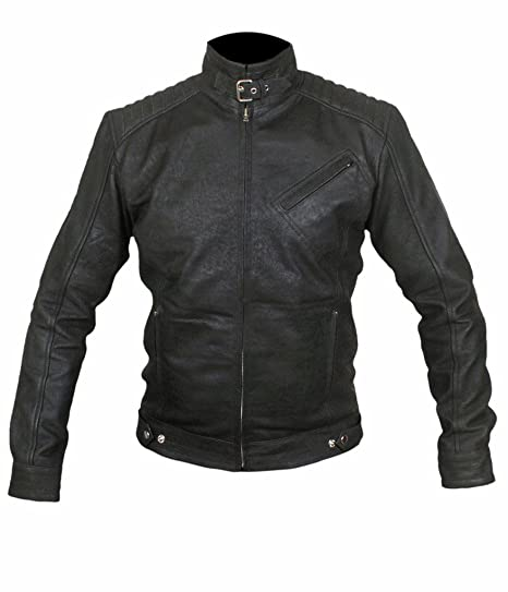 F/&H Mens Distressed Bourne Legacy Jeremy Renner Genuine Leather Jacket 5XL Black
