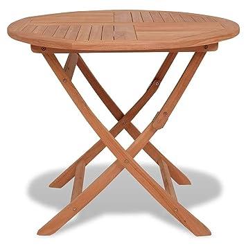 vidaXL Teck Massif Table à Dîner d\'Extérieur Pliable Ronde Table de ...