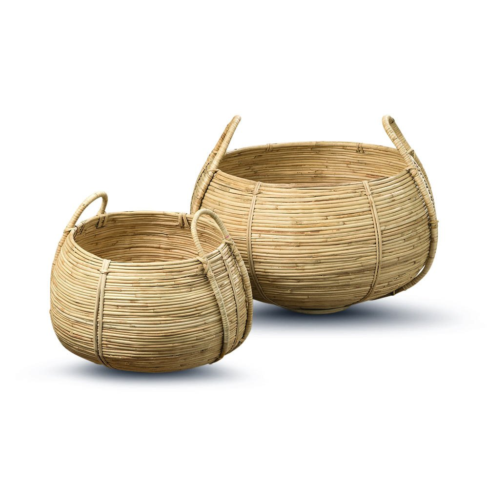 The Naturally Modern Belly Baskets, Set of 2, Rustic Natural,Woven Palm Cane, Stitched and Ribbed Details, Carry Handles, Both Over 1 Diameter Wide, (17 3/4 and 12 1/2 Inches, By Whole House Worlds