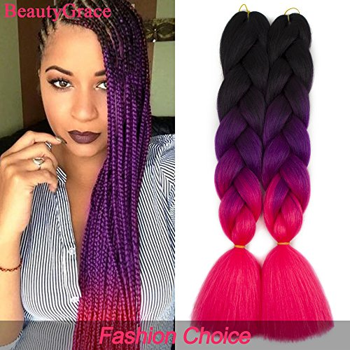 BeautyGrace 5 packs Afro Jumbo Braiding Hair Extensions Kanekalon Synthetic Twist Hair Multiple Tone Colored African Jumbo Braids Hair (24 inch, (1 African Hair Braiding)