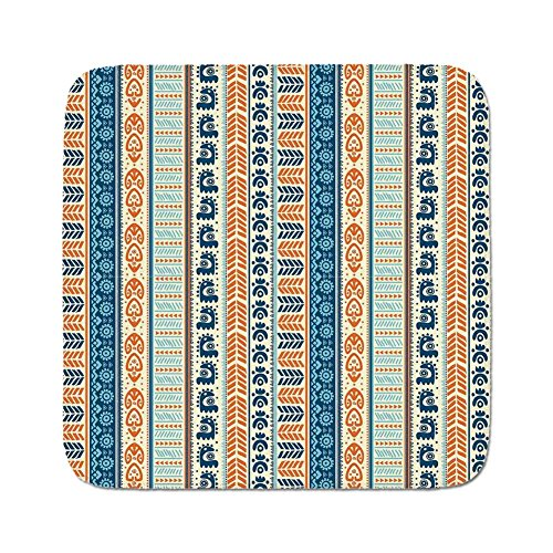 Cozy Seat Protector Pads Cushion Area Rug,Tibal,Aztec Ancient Vintage Ethnic Pattern with Native American Folk Figures Artisan Art,Merigold Blue,Easy to Use on Any Surface
