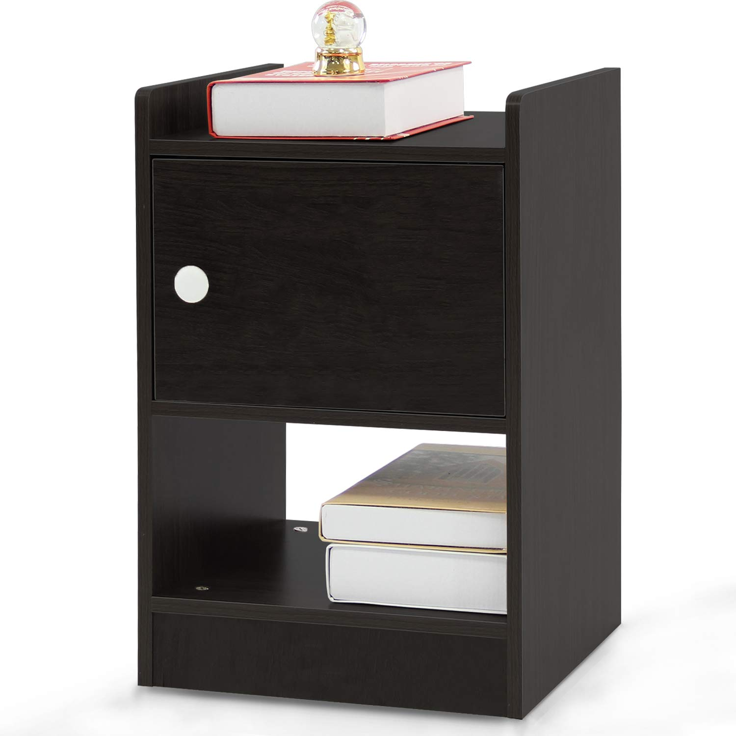DL furniture-Night Stand/Accent Table with Drawer and Cabinet for Storage (Black) by DL furniture