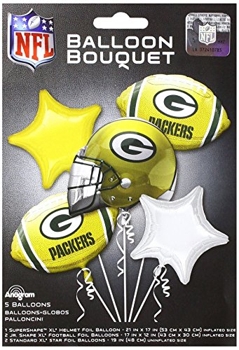Anagram 31415 Green Bay Packers Balloon Bouquet, Multicolored ()