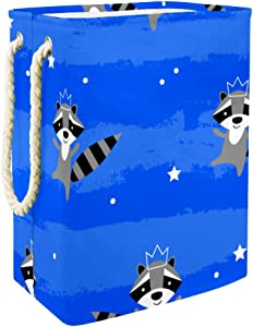 TIZORAX Dancing Racoon with Crown Laundry Hamper Baskets Waterproof Dirty Clothes Sorter Foldable Soft Handle Colourful for Home Detachable Brackets