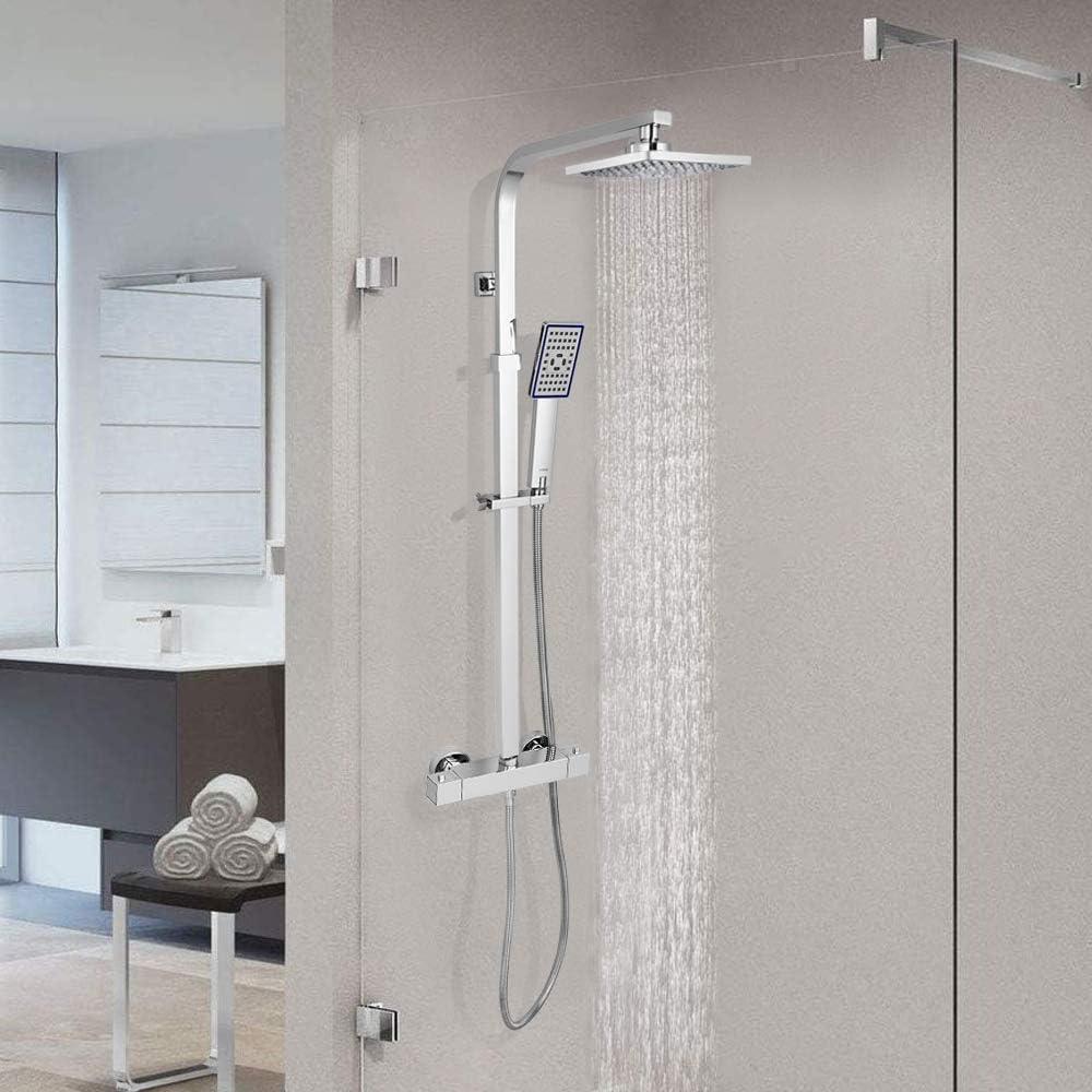 Duschs/äule Edelstahl Chrom H/öhenverstellbar Duschsystem mit Thermostat VENTCY Duschamaturenset mit thermostat mit Regendusche und Handbrause Duschsystem Thermostat Set Verbr/ühschutz