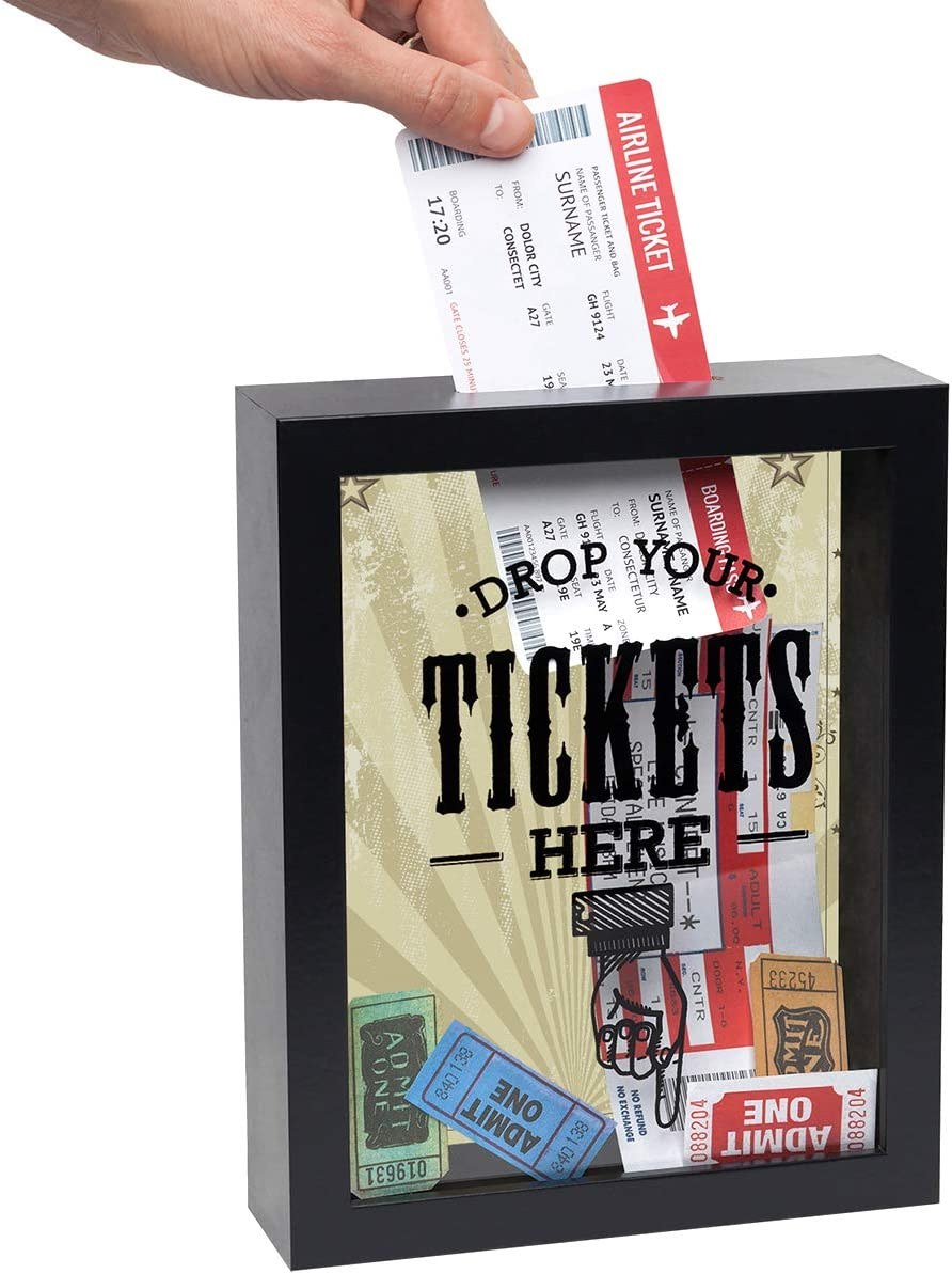 "Americanflat Drop Your Tickets Here Shadow Box Frame in Black with Polished Glass for Wall and Tabletop - 7"" x 9"""