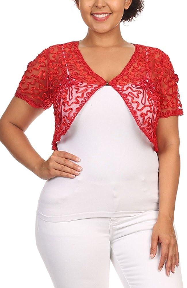 Womens Plus Size Shrug Short Sleeve Sheer Dressy Holiday Cropped Bolero Cardigan COCTN167