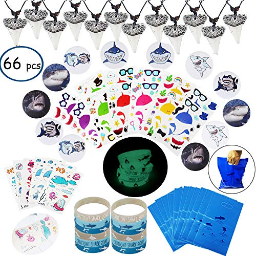 Shark Party Favor Supplies Pack -Shark Tooth Necklace Tattoo Sticker Shark Gift Bag Shark Bracelet Pin Back Button for Kids Under the Sea/Birthday/Goody Bags (66 pcs/set) -
