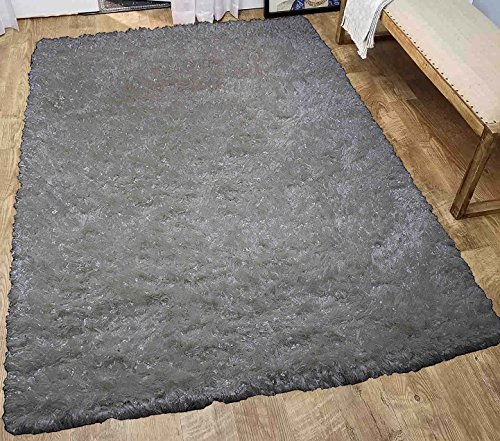 LA Rug Linens Glitter Shag Shaggy Furry Fluffy Fuzzy Sparkle Soft Modern Contemporary Thick Plush Soft Pile Off White Two Tone Area Rug Carpet Bedroom Living Room 5x7 Sale Discount Treasure Off White