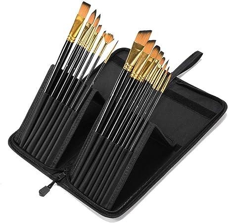 Shuxinmd Nylon Cepillo Set Brochas para Pintar Profesional Pelo de Nylon Artista Acrílico Cepillo para Acrílico Acuarela Pintura Al Óleo por Manualidades 15pcs: Amazon.es: Hogar