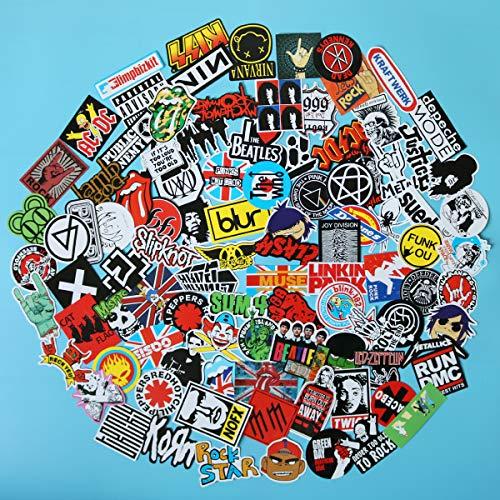 (100PCS Pack Band Rock Roll Punk Stickers Decals Laptop Cars Guitar Bumper Classic Vinyl Waterproof Graffiti)