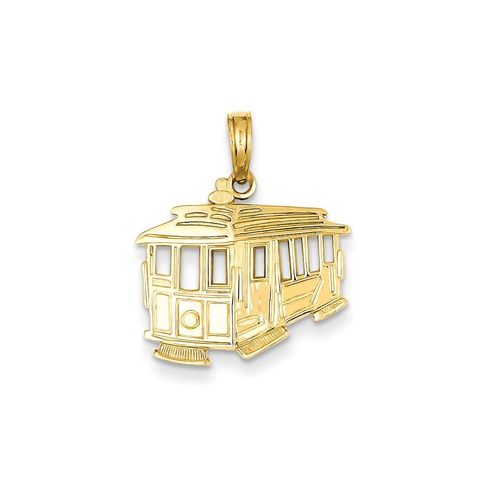 14k Cable Car Pendant, 14 kt Yellow Gold