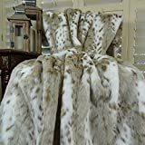 Thomas Collection Luxury white and taupe Siberian Leopard Faux Fur Throw Blanket & Bedspread, White Taupe Siberian Leopard Faux Fur Throw Blanket, Handmade in US, 16431